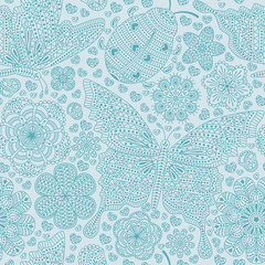 Seamless pattern with flowers, hearts and butterflies. Romantic floral background in blue colors. Detailed vector illustration.