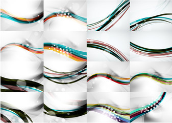 Set of abstract backgrounds, smooth blurred waves