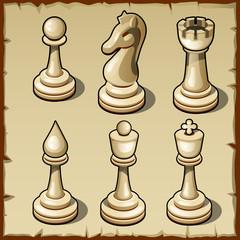 Elegant chess set in light color, six figures