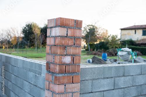 Blocchi Calcestruzzo Per Muri.Muro Di Mattoni Blocchi Di Cemento Calcestruzzo E Pilastro
