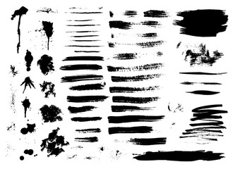 Set of ink hand drawn brush strokes