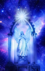 Wall Mural - archangel standing in a gate over starry Universe