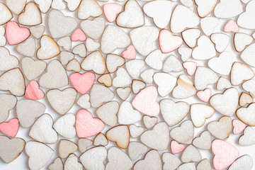 background made of wooden hearts
