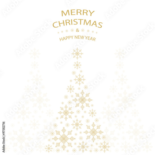 merry christmas and happy new year greeting card with gold christmas ...