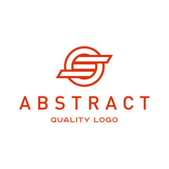 Technology abstract brand logo vector sign into flat style art