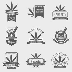 Vector set of cannabis emblem, badge or logo concept