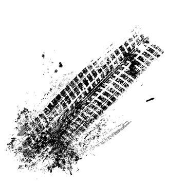 Grunge black tire track on white background, vector