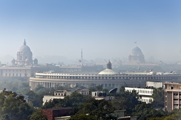 India. A view of Delhi in morning fog...