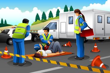 Paramedic Giving Help to an Injured Girl