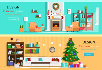 Set of colorful Christmas interior design house rooms with furniture icons. Christmas wreath, Christmas tree, fireplace. Flat style vector illustration