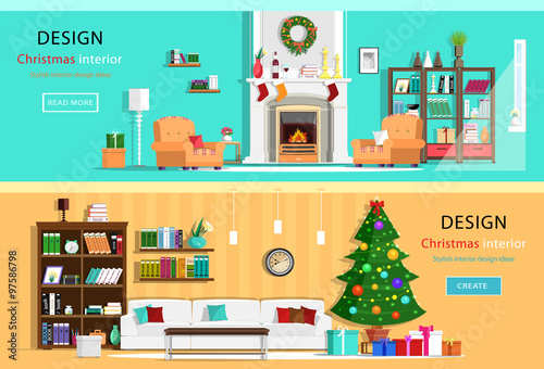 Set Of Colorful Christmas Interior Design House Rooms With Furniture Icons Wreath