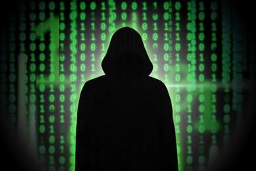 Hacker im Mantel