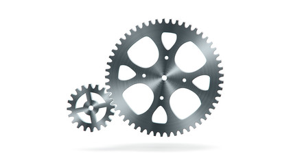 Simple animation of two gear wheels in grey colors