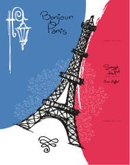 Paris France Eiffel tower and flag
