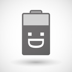 Isolated battery icon with a laughing text face