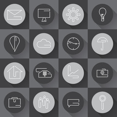 line craft web icons set for business in flat design. Vector