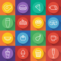 Food and drink line craft icons set in flat design. Vector