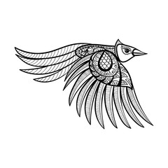 Vector ornamental flying bird, ethnic zentangled mascot, amulet,