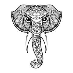 Vector ornamental head of Elephant, ethnic zentangled mascot, am