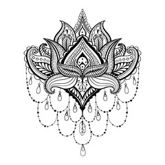 Vector ornamental Lotus, ethnic zentangled henna tattoo, pattern