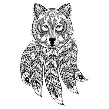 Vector ornamental Wolf with dreamcatcher, ethnic zentangled masc