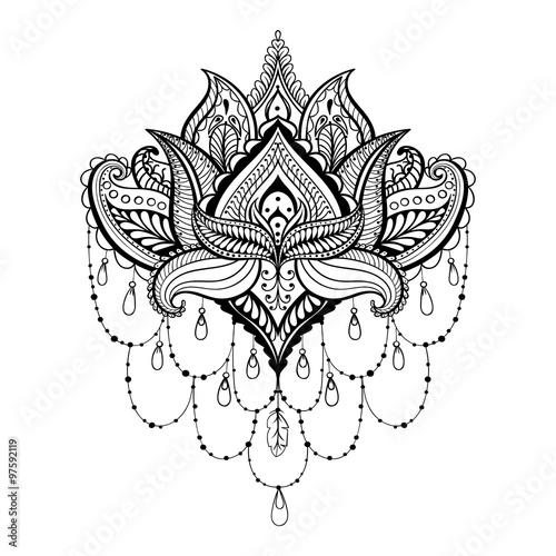 Vector ornamental Lotus, ethnic zentangled henna tattoo, pattern ...