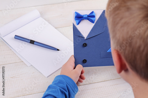 Child Making Greeting Card For Father Handmade Dad Happy Birthday Fathers Day Kids Art New Year And Christmas Cards