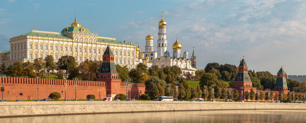 View to Kremlin Embankment in Moscow in Russia