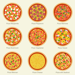 Pizza set icons.