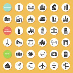 Buildings, world landmarks and travel icons