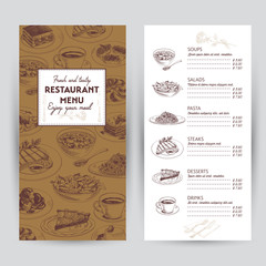 Vector hand drawn food illustration. Restaurant menu.