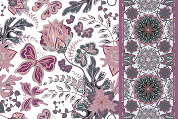 Vector floral set pattern with hand draw fantasy flowers and butterfly and seamless border (strip band ribbon) for your design