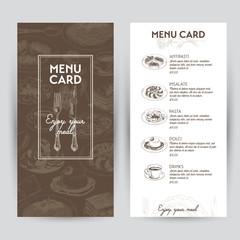 Vector hand drawn illustration with italian food. Restaurant menu