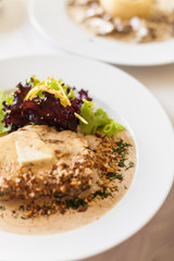 Veal fillet with a creamy souce made of Dorblu cheese and walnut