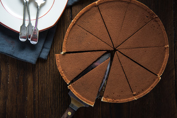 Chocolate cake sliced from above