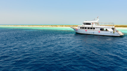 Yacht anchored red sea