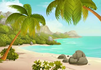 Tropical beach vector background
