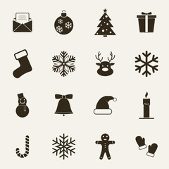 Set of Christmas and Winter icons. Vector Illustration