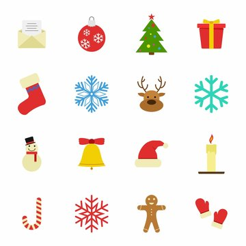 Set of Christmas and Winter icons on white background