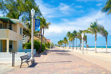 Wall Mural - The famous Hollywood Beach boardwalk in Florida