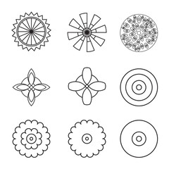 Flower icon set, line collection.