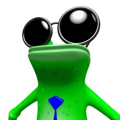 3D frog with sunglasses