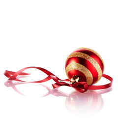 Striped New Year's ball with a red tape.