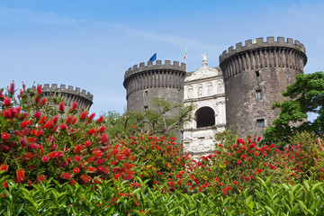 Medieval castle of Maschio Angioino or Castel Nuovo in Naples