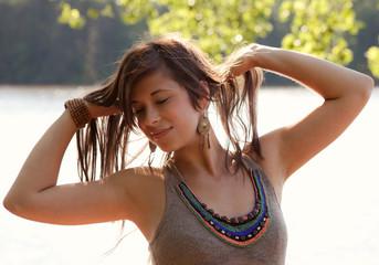 Beautiful Hippie Woman Outside