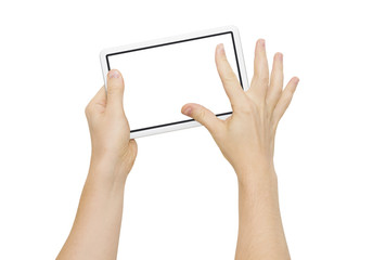 Two hands holding big screen device, zooming fingers, clipping path