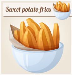 Sweet potato fries. Detailed vector icon