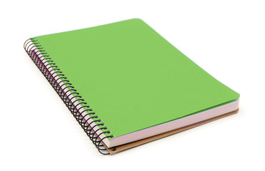 Green notebook isolated on white background