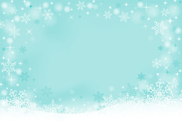 Winter background with snowflakes and space for text. Vector illustration.