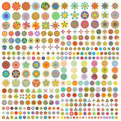 Large flower icon set flat style icons in circles. Vector illustration.